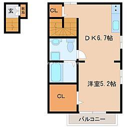 Daito Style TINA 2階1DKの間取り