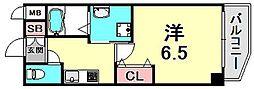 JR東海道・山陽本線 三ノ宮駅 徒歩7分の賃貸マンション 9階1Kの間取り