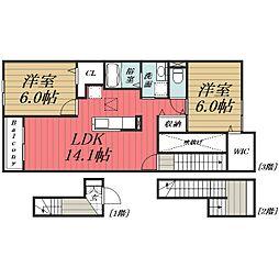 JR総武本線 八街駅 バス8分  文違野下車 徒歩2分の賃貸アパート 3階2LDKの間取り