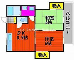 ミアキハイツII[1階]の間取り