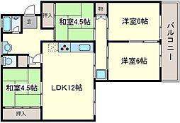 下野池第二住宅16号棟[5階]の間取り