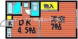 岡山県岡山市中区新京橋3丁目の賃貸アパートの間取り