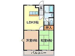 静岡県富士市西柏原新田の賃貸アパートの間取り