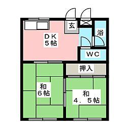 グリーンコーポ長谷川 A棟[1階]の間取り