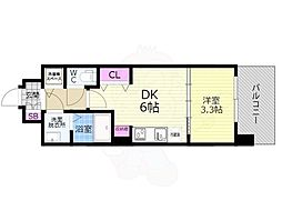 京都市営烏丸線 九条駅 徒歩7分の賃貸マンション 3階1DKの間取り