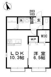 バス 岡電バス泉田口下車 徒歩2分の賃貸アパート 2階1LDKの間取り