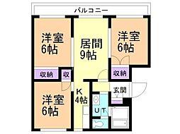 GRAND CREST(旧:横田ハイツ) 1階3LDKの間取り
