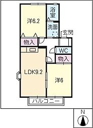 エルミタージュKUBOTA B棟[1階]の間取り