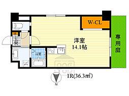 阪急千里線 山田駅 徒歩12分の賃貸マンション 4階ワンルームの間取り