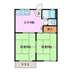 きくすいハイツ[1階]の間取り