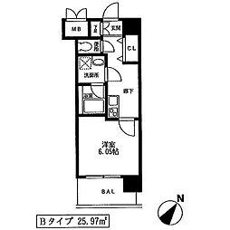 JR東海道本線 横浜駅 徒歩6分の賃貸マンション 4階1Kの間取り