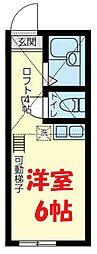 JR横須賀線 保土ヶ谷駅 徒歩10分の賃貸アパート 2階ワンルームの間取り