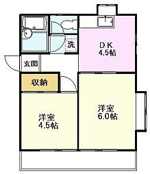 JR中央線 国立駅 徒歩10分の賃貸アパート 1階2DKの間取り