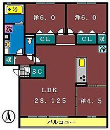 仮)セジュール西の原3区画1期[102号室]の間取り