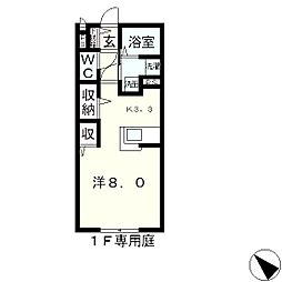 滋賀県守山市今宿4丁目の賃貸アパートの間取り