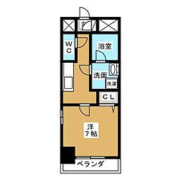 アクアコート大曽根 4階1Kの間取り