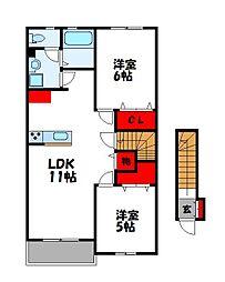MIKI HOUSE IV B棟 2階2LDKの間取り