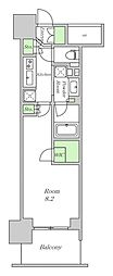 Osaka Metro四つ橋線 西梅田駅 徒歩3分の賃貸マンション 10階ワンルームの間取り