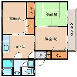 奈良県大和高田市曽大根1丁目の賃貸アパートの間取り