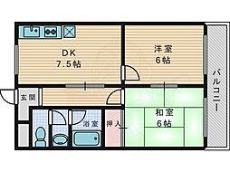 京阪交野線 交野市駅 徒歩7分の賃貸マンション 4階2DKの間取り