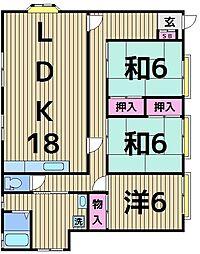 日東荘[1F号室]の間取り