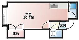 コート澄川 A棟 2階1Kの間取り