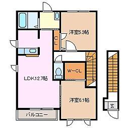 ディアコートF C棟[2階]の間取り