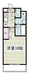 シャルム湘南 2階1Kの間取り