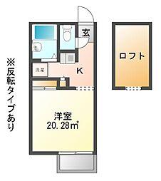 兵庫県赤穂市板屋町の賃貸アパートの間取り
