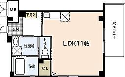 JR可部線 大町駅 徒歩7分の賃貸マンション 2階ワンルームの間取り