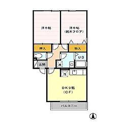 JR信越本線 篠ノ井駅 徒歩19分の賃貸アパート 2階2DKの間取り