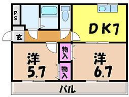 愛媛県松山市平田町の賃貸アパートの間取り