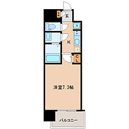 仙台市営南北線 広瀬通駅 徒歩5分の賃貸マンション 10階1Kの間取り