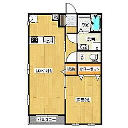 東武伊勢崎線 茂林寺前駅 徒歩15分の賃貸アパート 1階1LDKの間取り