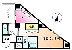 ジョイオブライフ鶴川 2階1Kの間取り