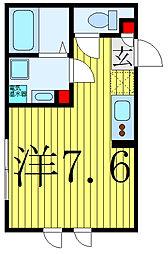 都営三田線 西巣鴨駅 徒歩3分の賃貸マンション 5階ワンルームの間取り