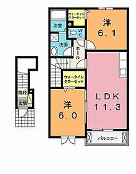 埼玉県北本市中丸6丁目の賃貸アパートの間取り