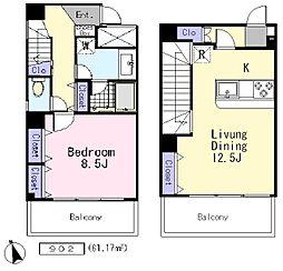 ル・ポン・デスポワール 9階1LDKの間取り