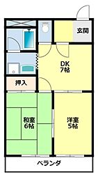 愛知県豊田市田中町1丁目の賃貸アパートの間取り