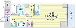 仙台市地下鉄東西線 国際センター駅 徒歩10分の賃貸マンション 3階1Kの間取り