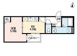THE HOUSE 与野本町 Blanc 2階1DKの間取り