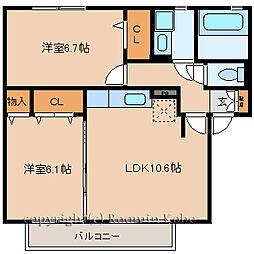 サワーフローラ[A102号室]の間取り