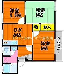 岡山県倉敷市水島東川町丁目なしの賃貸アパートの間取り