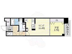 名古屋市営名城線 久屋大通駅 徒歩5分の賃貸マンション 9階1LDKの間取り