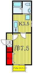 JR京浜東北・根岸線 赤羽駅 徒歩16分の賃貸アパート 2階1Kの間取り