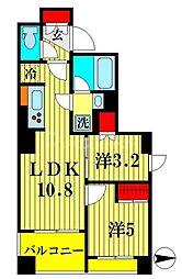 パークアクシス吾妻橋 2階2LDKの間取り