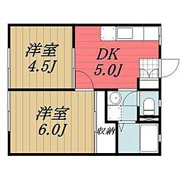 千葉県成田市寺台の賃貸アパートの間取り