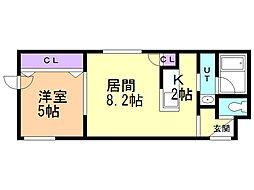 エクセレンス東札幌 1階1LDKの間取り