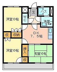 サンラビール小倉[1107号室]の間取り