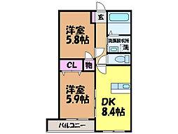 愛媛県松山市松末1丁目の賃貸マンションの間取り